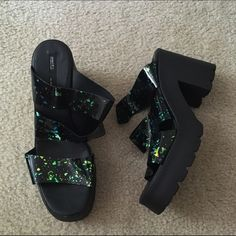 NWOT miista Ava hologram sandals Brand new never worn. Sold at nasty gal but sold out everywhere! Awesome sandals. Size 40 which is about an 8.5/9 in my opinion Miista Shoes Sandals