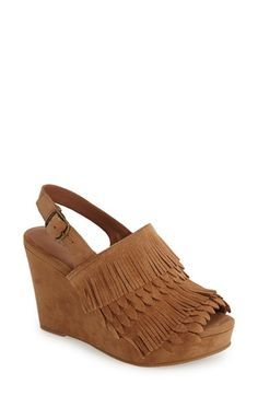 Lucky Brand 'Jeena' Fringe Suede Wedge Sandal (Women) available at #Nordstrom