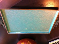 Vintage HANDMADE 1950s Midcentury Asian Kyes Pasadena Metal Moire Glaze Serving Tray. $20.00, via Etsy.