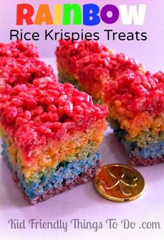 Rainbow Rice Krispies Treats Idea &  Recipe - Perfect for St. Patrick's Day Dessert treat or a rainbow birthday party!