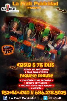 Paseos desde Calexico a Six Flags Magic Mountain el 20 y 27 de octubre. Six Flags se convierte en uno de los parques más espantosos del mundo ¡solo en octubre! Costo: $75 Dlls.    Preguntas y Reservas: (686) 278-5025 152*14*4740