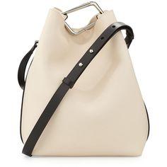 3.1 Phillip Lim Quill Calfskin Bucket Bag ($328) ❤ liked on Polyvore featuring bags, handbags, shoulder bags, bolsos, powder, studded purse, pink handbags, calf leather handbags, 3.1 phillip lim purse and 3.1 phillip lim handbags