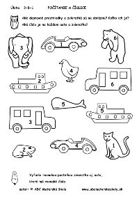 Autíčka a zvieratká - Matematika – Počítanie, priraďovanie, číslice a čísla - pracovný list
