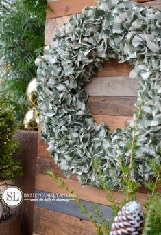 Plaid Fabric Rag Wreath with Styrofoam wreath form and homespun plaid cut into x strips Fabric Wreath, Diy Wreath, Rag Wreaths, Burlap Wreaths, Wreath Making, Wreath Ideas, Swag Ideas, Rag Wreath Tutorial, Christmas Crafts