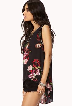 Pixelated Garden High-Low Top | FOREVER21 - 2075182961