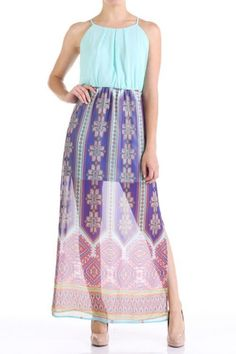 *** Chiffon Summer Dress *** Chiffon Summer Dress, printed maxi dress with solid top portion detail.