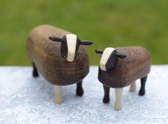 Hand carved Zwartbles sheep