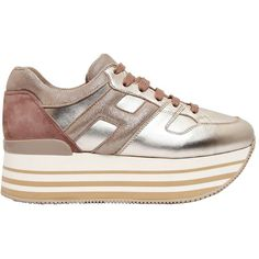 Hogan Women 70mm Maxi 222 Metallic Leather Sneakers (29.460 RUB) ❤ liked on Polyvore featuring shoes, sneakers, gold, leather trainers, real leather shoes, leather platform sneakers, hogan sneakers and platform trainers