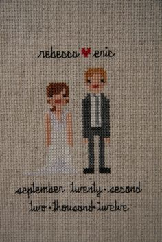 Holly's Red Bike: Cross stitch wedding portrait
