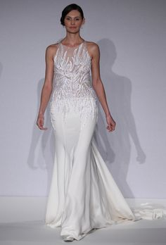 Mark Zunino for Kleinfeld - Spring 2013. Sleeveless silk and tulle A-line wedding dress with a high neckline and beaded bodice, Mark Zunino for Kleinfeld