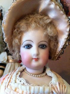 "12"" Antique French Fashion Doll c1880 Unusual Face with Swivel Neck Lovely Gown 