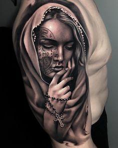 Best Sleeve Tattoos, Arm Tattoos, Body Art Tattoos, Cool Tattoos, Religous Tattoo, Maria Tattoo, G Tattoo, Tattoo Roses, Gangsta Tattoos