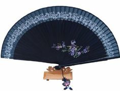 Silver J Hand fan with silk fan case and butterfly tassel, navy bamboo and silk, flower hand painted by Silver J. $19.98. Delivery to UK and International destinations.. Chain of slightly glittery twine is printed on the navy silk. Sweet flowers are hand drawn on the bamboo pieces.. Handmade foldable hand fan made with navy bamboo, and navy silk.. Hand fan comes in a paper box with a silk fan case.. Hand fan is easy to open and fold, fits in handbags.. This is a foldable orie...