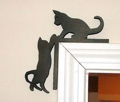 Cats silhouette in door frame. - - Cats silhouette in door frame. Cnc Projects, Woodworking Projects, Metal Art, Wood Art, Cnc Router Plans, Cat Silhouette, Scroll Saw Patterns, Art Mural, Kittens Cutest