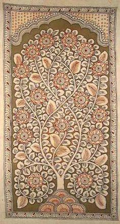 Tree of Life panel 'Kalamkari' painting - hand painted with natural vegetable dyes, India. Kalamkari Painting, Textiles, Indian Art Paintings, Oil Paintings, Landscape Paintings, Madhubani Art, Indian Folk Art, Madhubani Painting, Turkish Art