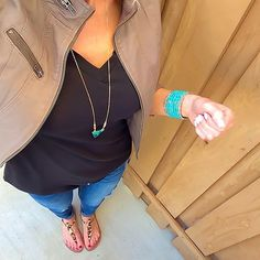 Express Twill Moto Jacket (in Foliage) + Black V Neck tee + distressed jeans + Leopard Sam Edelman Gigi Sandals + Turquoise jewelry [@ontheDailyX]