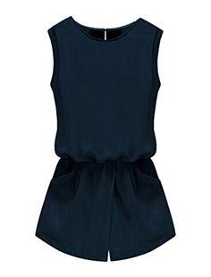 Allegra K Women Round Neck Sleeveless Cut Out Back Pockets Casual Romper - http://darrenblogs.com/2015/12/allegra-k-women-round-neck-sleeveless-cut-out-back-pockets-casual-romper/