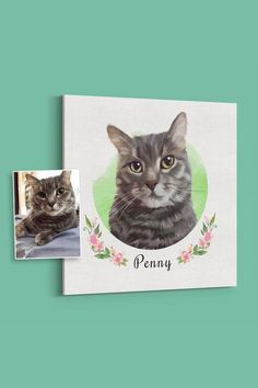 custom cat portrait from photo on canvas - personalized pet portrait - gift idea for cat lover Custom Dog Portraits, Pet Portraits, Cat Lover Gifts, Cat Lovers, Cat Signs, Orange Tabby Cats, Cat Accessories, Art Mural, Pet Memorials