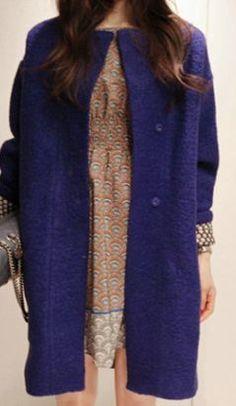 Scoop Hidden Button Loose Long Woolen Coat