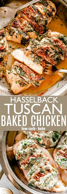 Hasselback Tuscan Baked Chicken Breasts - Diethood Hasselback Tuscan Baked Chicken Breasts - DELICIOUS baked chicken stuffed with a creamy mix of spinach, sun-dried tomatoes, and cream cheese makes for one amazing Low-carb and KETO friendly meal. Baked Chicken Recipes, Turkey Recipes, Meat Recipes, Low Carb Recipes, Dinner Recipes, Cooking Recipes, Healthy Recipes, Sauce For Baked Chicken, Cream Cheese Recipes Dinner