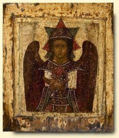 "The ""Hagia #Hesychia,"" or ""Holy Silence,""  This is the only image of Christ in which the halo  is an eight-pointed star. This star is made up of two squares, one of which symbolizes the deity of the Lord, the other, the dark impenetrability of Divinity.  behind his back has two wings lowered. The icon conveys the angelic image of #Christ before his incarnation, the Angel of the Great Council. #Russian icon 1700"
