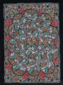 Fish Madhubani 1 traditional art by Mithilesh Jha | ArtZolo.com