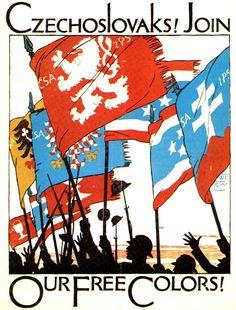 Cartel inglés de la I Guerra Mundial animando a los checos y eslovacos a unirse a los aliados