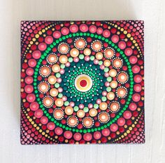 Original Red Mandala Painting on Canvas, Painting, Office and home ornament Henna art Gift Dotilism Dotart, Blue mandala Mandala Design, Mandala Art, Mandala Canvas, Mandalas Drawing, Mandala Rocks, Mandala Pattern, Henna Mandala, Mandala Tattoo, Dream Catchers