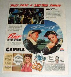 1944 WWII Camel Cigarettes Ad - B-17 Gunners