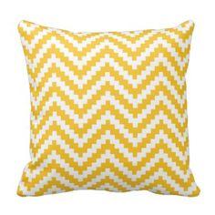 Zigzag Chevron Block Stripe in Canary Yellow Throw Pillow Chevron Throw Pillows, Decorative Throw Pillows, Yellow Room Decor, Yellow Chevron, Zig Zag Pattern, Decor Ideas, Color, Pretty, Style