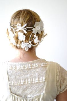 Back Cascade Flower Crown Whimsical Headband Flower by hazelfaire, $50.00