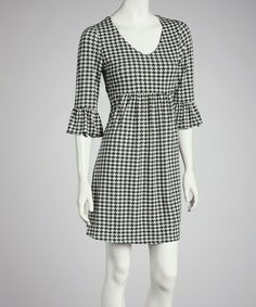 Take a look at this Black Houndstooth Dress by Reborn Collection on #zulily today!