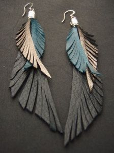Glamourous, flattering and fun.  Unlike conventional feather earrings, these wont get messed up or bend or break.  The soft black leather wings are highlighted with gold and smoky blue - perfect flashing under your hair or bold and free with an up-do or short hair. My cutting techniques create the delicate shapes and intricacy of a feather with the durability and flexibility of leather.