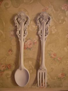 Large Ornate Spoon And Fork , Kitchen Wall Hangings, Country, Farm, Shabby~Homco