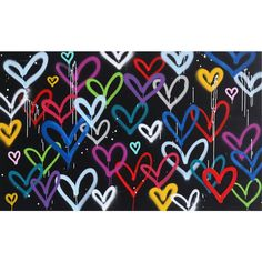 """Amber Goldhammer """"Hearts in Love"""" Original Painting Wall Patterns, Painting Patterns, Easy Paintings, Original Paintings, Spray Paint Wood, Black Paper Drawing, Colors And Emotions, Wood Painting Art, Ap Art"""