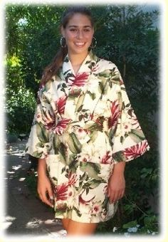 Hawaiian Robe in Orchids print is great for lounging at home or over a bathing suit at the beach or pool.