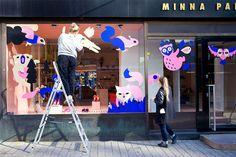 Leena Kisonen window display for Minna Parikka Universum @enviromeant