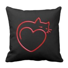 Shop I Love Cats! (Stylized Red Outline on Black) SQP Throw Pillow created by HoMeArts. Sewing Pillows, Diy Pillows, Decorative Pillows, Cushions, Throw Pillows, Custom Pillows, Cat Lover Gifts, Cat Lovers, Cat Quilt