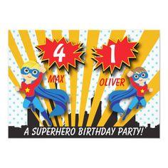 Twins Superhero Birthday | Boys Brown/Blonde Hair Invitation Superhero Birthday Invitations, Superhero Birthday Party, Brown Blonde Hair, Black Hair, Zazzle Invitations, Invitation Cards, Invites, Party Invitations, Superhero Kids
