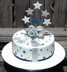 Exploding Stars Silver Blue Cake 80th Birthday Present  cakepins.com