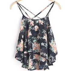 Black Spaghetti Strap Floral Chiffon Cami Top (61 BRL) ❤ liked on Polyvore featuring tops, shirts, crop top, floral pattern shirt, crop tank, floral tank top, floral print shirt and cropped tank top
