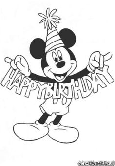 Coloring Happy Birthday From Mickey Mouse This Free Mous With Pages For Mom Comfy Cool Colori