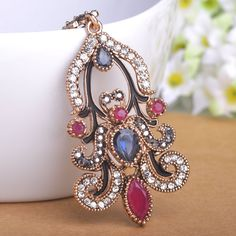 Vintage Turkish Crystal Flower Necklace Sapphire Pendant Jewelry Long Chain Collares Mujer Turkey Statement Necklace Women Gift