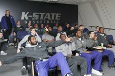 The K-State men's basketball team is excited for the Big 12 Championship trophy to arrive in Manhattan. Copyright K-State Photo Services.