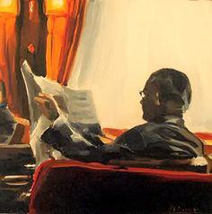 Homem lendo Edward B. Gordon (Alemanha, 1966) óleo sobre madeira www.gordon.de