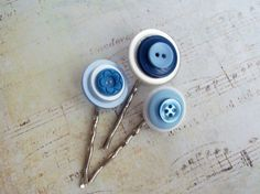 Button Bobbie Pins by DixiesNightOwl on Etsy