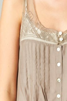 Embroidered Lace and Mother of Pearl in Soft Mocha