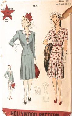 Vtg 1940s Sewing Pattern Hollywood 880 Dress Jacket Size 16 Bust 34 Hip 37 | eBay