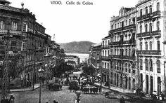 Vista de la calle Colón con el fondo de la Ría de Vigo, sobre el año 1920... Debió ser bonito vivir en esta ciudad