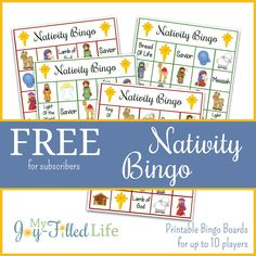 Printable Nativity Bingo game with boards for up to 10 players. Christmas Activities For Kids, Preschool Christmas, Christmas Nativity, Craft Activities For Kids, Kids Christmas, Advent Activities, Christmas Countdown, Advent Games, Merry Christmas